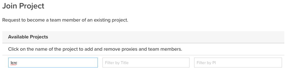 Join Project Search