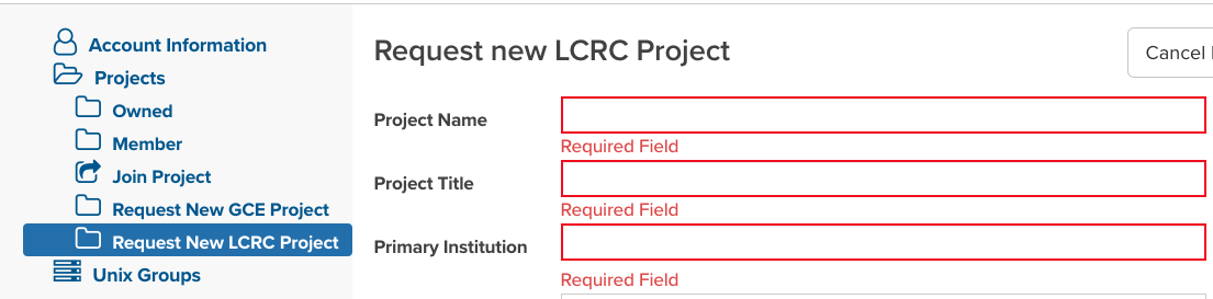 LCRC New Project